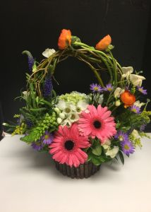 Basket of Beautiful Flowers (colors vary)