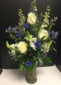 Classic Blue and White Vase Flower Arrangement